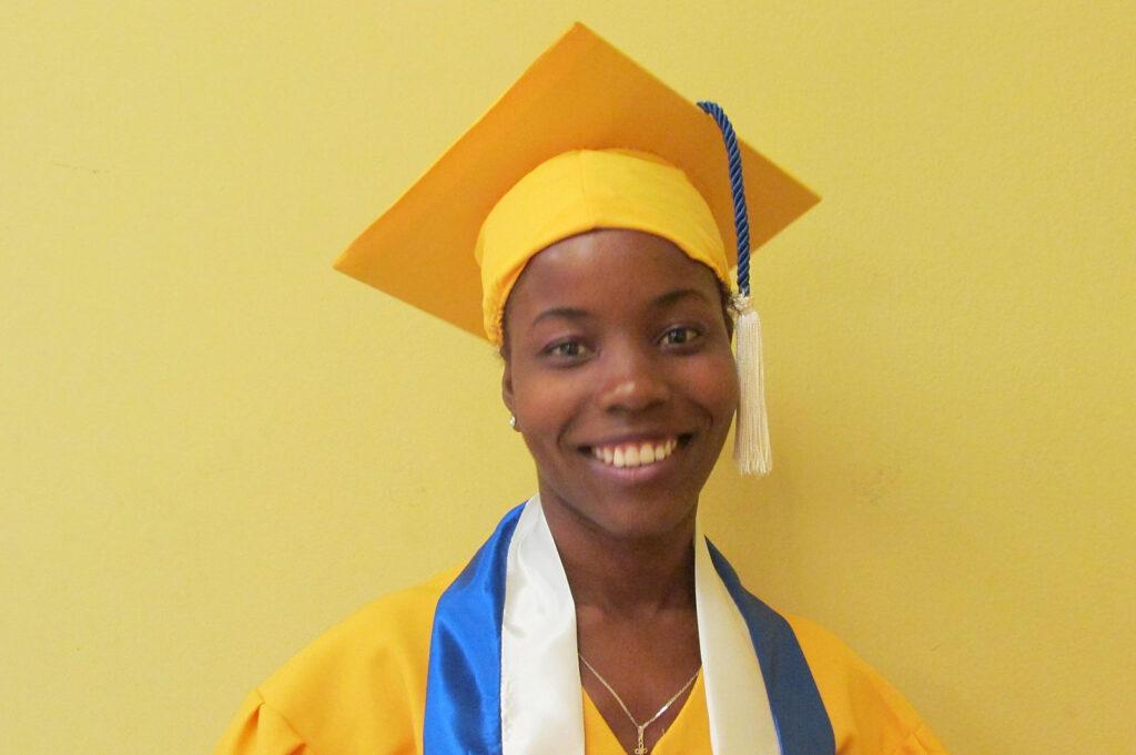 Haitian girl at high school graduation